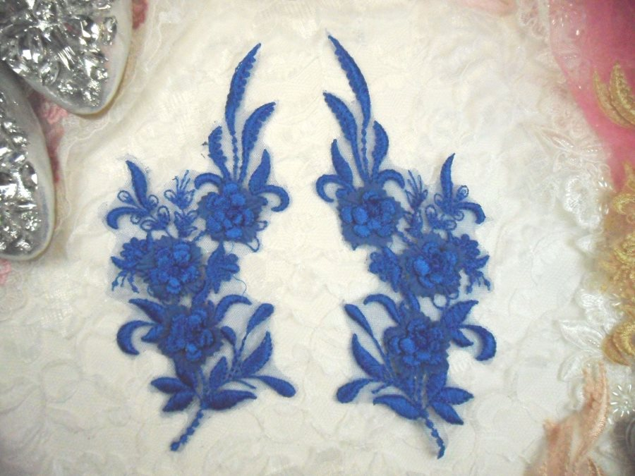 3D Lace Appliques Blue Floral Embroidered Mirror Pair 8 (DH92X)