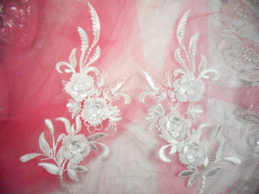 (REDUCED) 3D Lace Appliques White Floral Embroidered Mirror Pair 8  (RMDH92X)