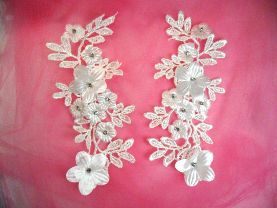 White Silver Crystal Bridal Floral Venice Lace Applique 9.5 (DH94X)