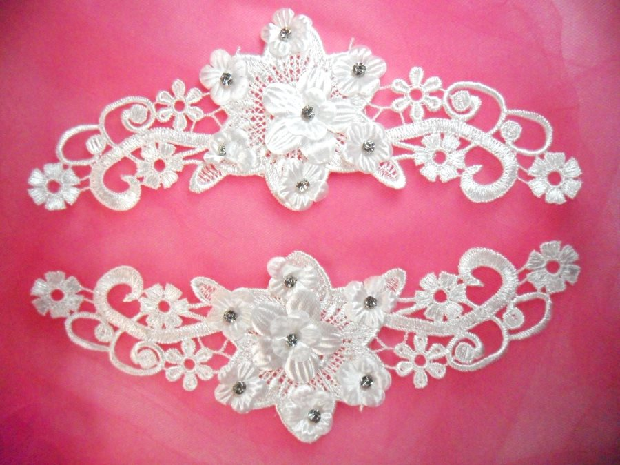 Venice lace applique white floral venise lace with crystal