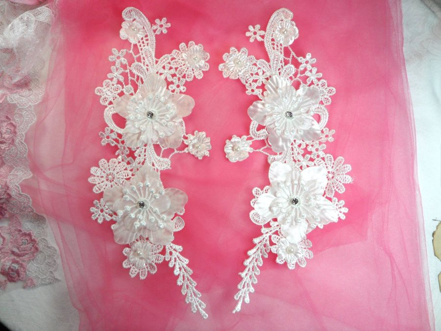 3D Venice Lace Applique White Floral Venise Lace with Crystal Rhinestones and Pearls 10 (DH96X)