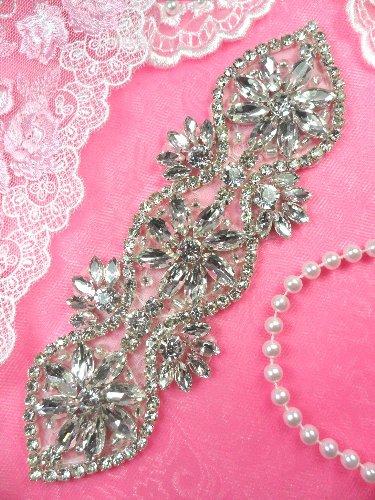 DH3 Crystal Rhinestone Applique Wedding Bridal Sash Motif  7\