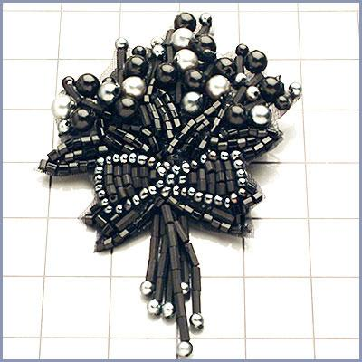 FSSD1065 Gunmetal Black Beaded Applique Flower Bow Pin