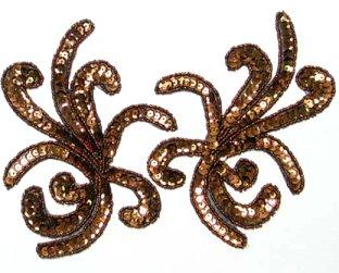 E107 Octopus Bronze Sequin Beaded MIRROR PAIR Appliques 6.25