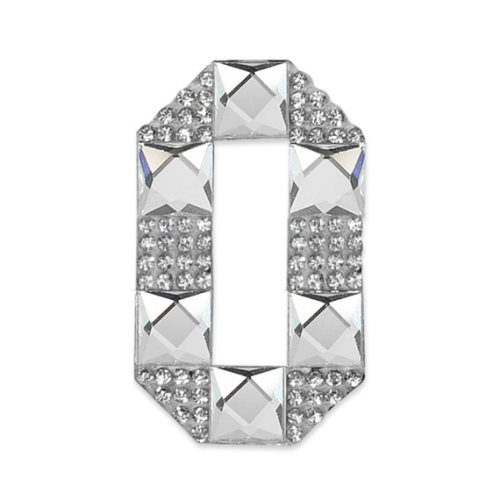 E1328/0 Crystal Rhinestone Applique Number Zero Iron On Patch 2.5\