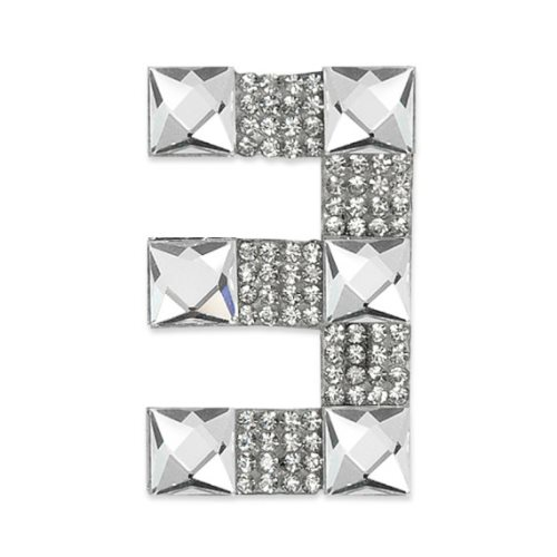 E1328/3 Crystal Rhinestone Applique Number Three Iron On Patch 2.5\