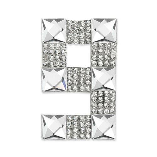 E1328/9 Crystal Rhinestone Applique Number Nine Iron On Patch 2.5\