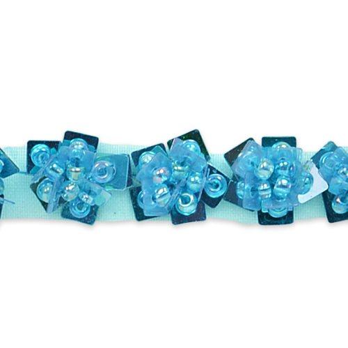 E1554 Floral Sequin Beaded Trim Blue .5\