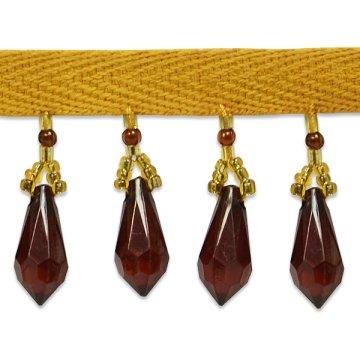 E1558 Brown Gold Teardrop Beaded Sewing Trim 1\