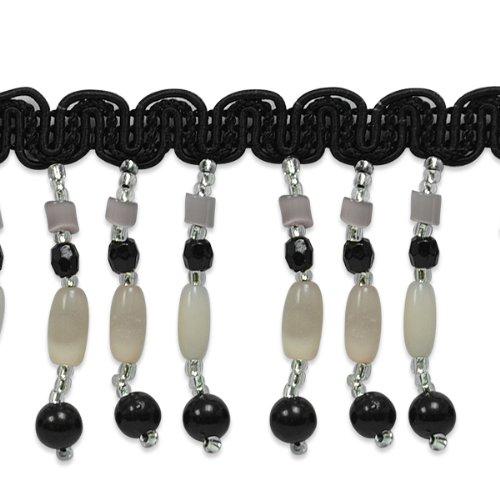 E1678 Black Beaded Sewing Fringe Trim 1\