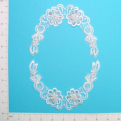 E2105x White Bridal Venise Lace Mirror Pair Appliques 5.5\