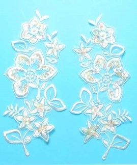 E2722x Ivory Bridal Venise Lace Flower Mirror Pair Sequin Appliques 8\