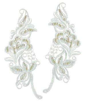 E2723x White Bridal Venise Lace Mirror Pair Sequin Appliques 9\