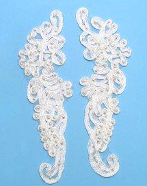 E3704 White Floral Venise Lace Mirror Pair Pearl Appliques 9.25\