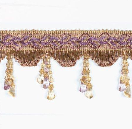 E4487 Fringe Trim Victorian Drop Bead Gold Lavender Multi 3.25\