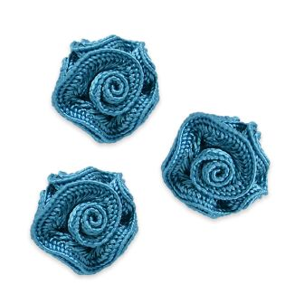 E5500 Flower Appliques Country Blue Set of ( 3 ) Ruffled Floral Rose  3/4\