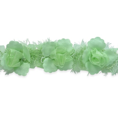 E5665 Mint Green Rose Floral Stretchy Sewing Trim