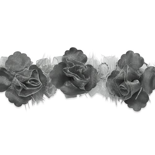 E5665 Pewter Rose Floral Stretchy Sewing Trim