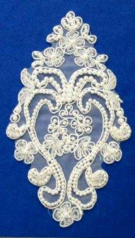 E6454 White Bridal Pearl Beaded Vase Venise Lace Applique 6.75\