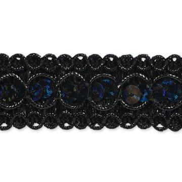 E6973  Black  Sequin Metallic Braid Trim 7/8\