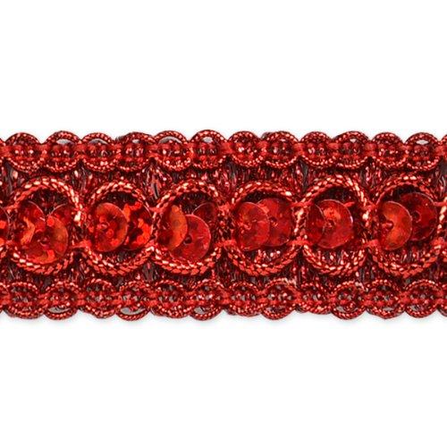 E6973  Red  Sequin Metallic Braid Trim 7/8