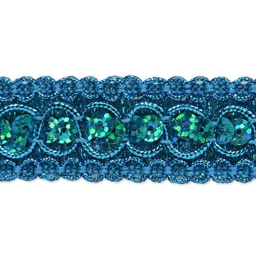 E6973  Turquoise  Sequin Metallic Braid Trim 7/8
