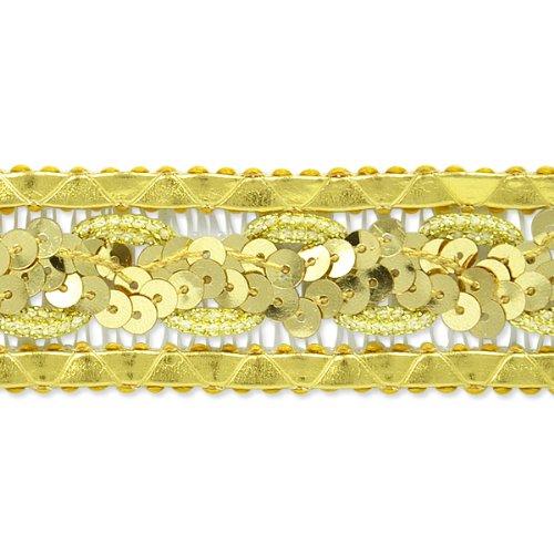 E7022 Gold Sequin Braided Metallic Sewing Craft Trim 1 1/4\