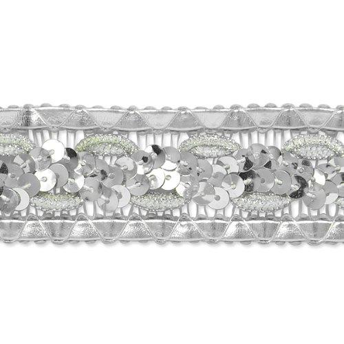 E7022 Silver Sequin Braided Metallic Sewing Craft Trim 1 1/4\