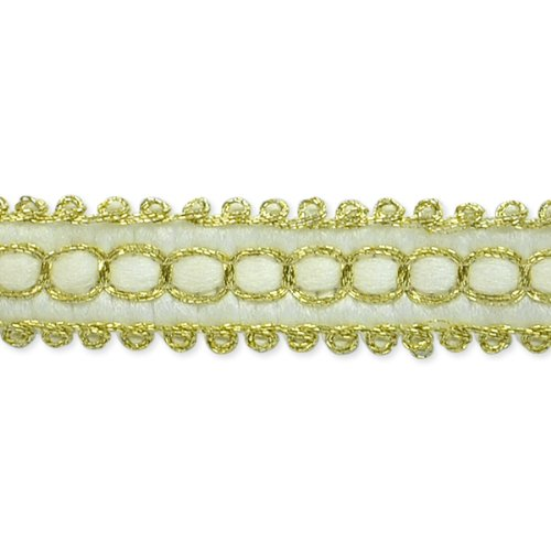 E7026 Ivory Gold Woven Braid Sewing Craft Trim 1/2\