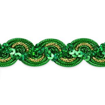 RME7029-33 REMNANT  Green Gold Trim Sequin Metallic Braid  3/4 wide