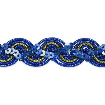 E7029  Royal Blue Gold Trim Sequin Metallic Braid  3/4\