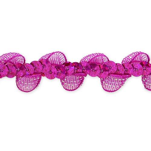 E7030 Fuchsia Ruffle Sequin Sewing Craft Trim 5/8\