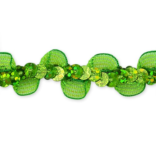 E7030 Lime Ruffle Sequin Sewing Craft Trim 5/8\