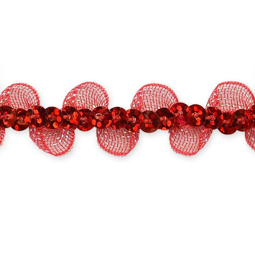 E7030 Red Ruffle Sequin Sewing Craft Trim 5/8\