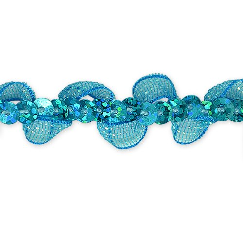 E7030 Turquoise Ruffle Sequin Sewing Craft Trim 5/8\