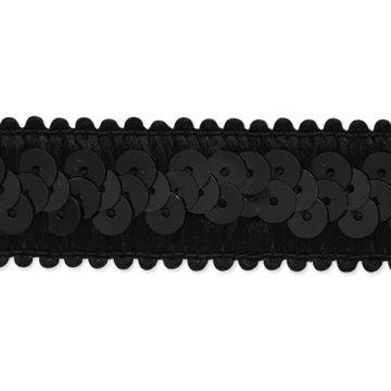 E7039  Black Trim Sequin Stretch  7/8\
