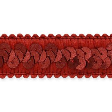 E7039  Red Trim Sequin Stretch  7/8\