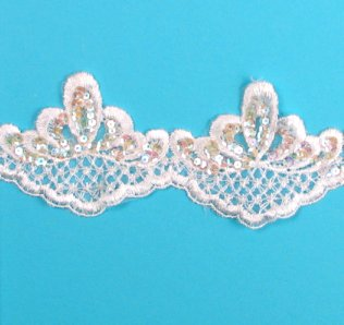 E876  White Pearl Sequin Lace Wedding Bridal Sewing Trim 4\