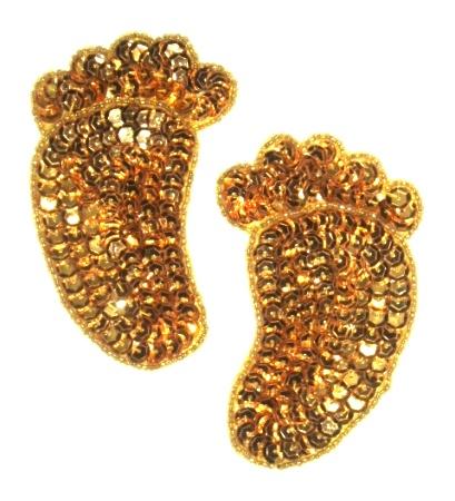 E923  Gold Feet Sequin Beaded Applique 3.5 Mirror Pair