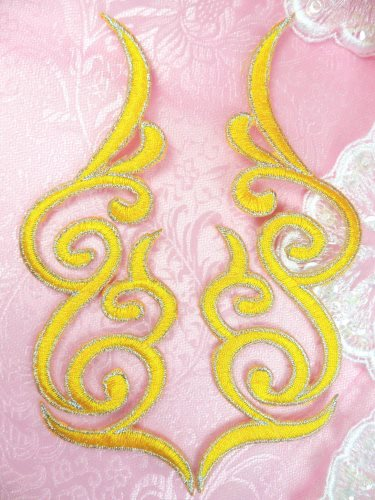 GB89 Embroidered Appliques Yellow Silver Edge Mirror Pair Iron On Patch 6.75\