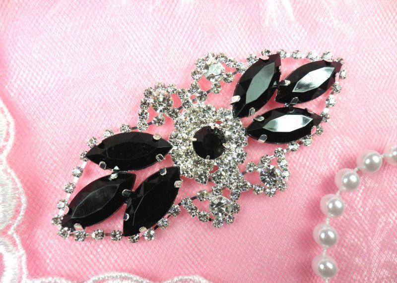 Crystal Rhinestone Embellishment Marquise Black Silver Metal Back 3.25 (GB335-bksl)