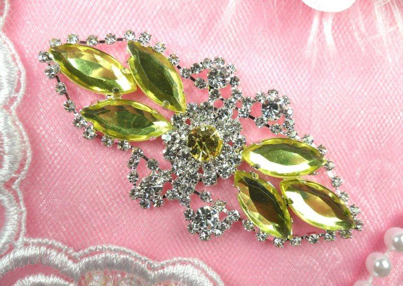 Crystal Rhinestone Embellishment Marquise Light Yellow Silver Metal Back 3.25 (GB335-ltylsl)