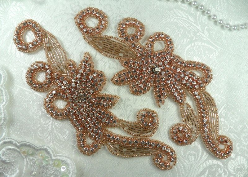 Rose Gold Appliques Crystal Rhinestone Gold Beaded Mirror Pair