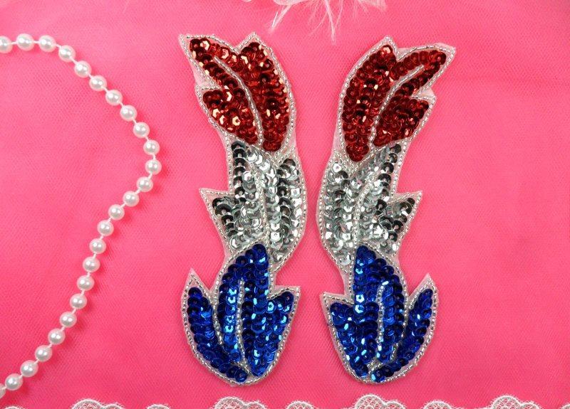 Patriotic Appliques Sequin Mirror Pair Silver edge Beads Dance Costume Patch 5.25 (XR301X-pat)