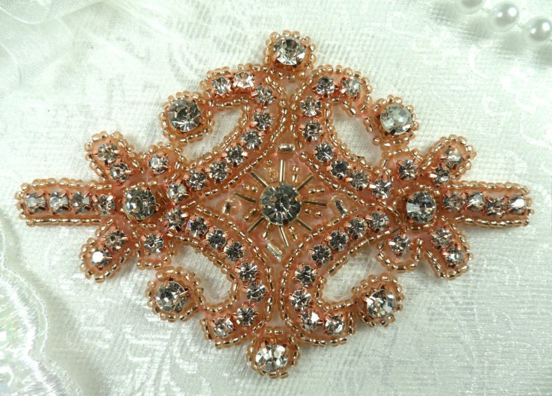 Rose Gold Applique Beaded Crystal Rhinestone Iron On Patch 4 (XR5-rsglcr)
