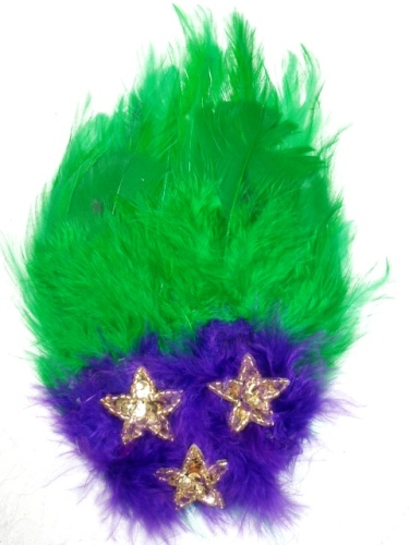 FB53  Mardi Gras Feather Gold Sequin Applique Brooch 7