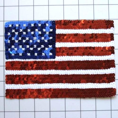 FS3238 Large Patriotic American Flag Sequin Beaded Applique Square 7