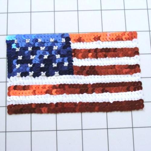 FS3238S  Patriotic American Flag Sequin Beaded Applique Square 5.5