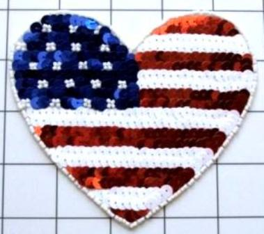 FS5785A Patriotic Heart Beaded Sequin Applique 4.75\