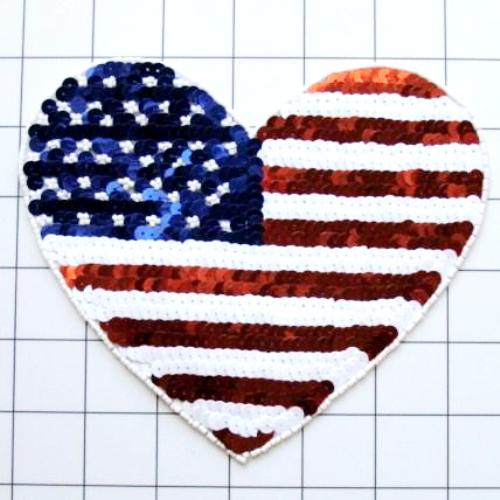 Large Patriotic Applique Heart Beaded Sequin American Flag Patch 6.5 (XR370)